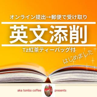 英文添削(オンライン提出→郵便受取)T2紅茶ティーバッグ付