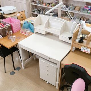 学習机✨おしゃれなホワイト家具調✨デスクライト・3段脇机付き✨カ...