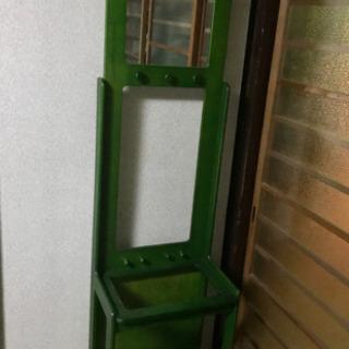 カリモク風 レトロ昭和アンティーク 緑色の鏡付き傘立て カバンや...