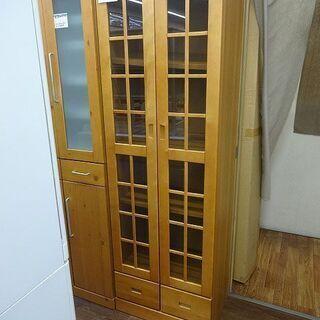 札幌 引き取り 食器棚/カップボード 木目デザイン 引き出し付き...