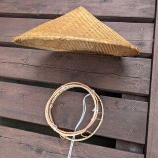無料  釣り用など竹編み笠 台座付き  釣り好き友人か…