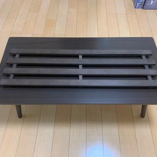ニトリ購入【美品】折りたたみテーブル ラポール 棚付き(ダ…