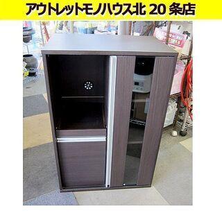 ☆キャビネット 幅60高さ90㎝ キッチンボード/食器棚 ブラウ...