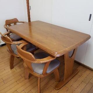 【受付終了】木製ダイニングテーブル 椅子3脚 - 海部郡