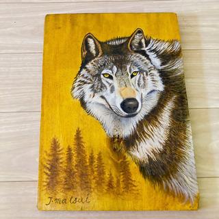 手描き オオカミの絵 壁かけ