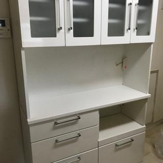 【直接引取歓迎】上下分割式 120cm幅キッチンボード 白