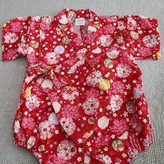 美品 ベビー 女の子 甚平 ロンパース 浴衣  70cm 綿100%