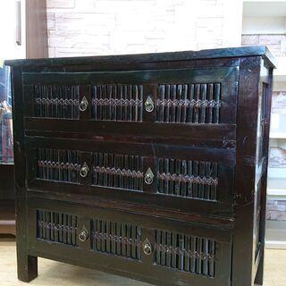 3段 ワイド チェスト 黒 ブラック アジアン家具 収納■80x...