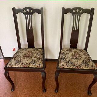 【アンティーク家具】レトロな花柄の椅子 2脚セット