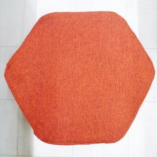 スツール 幅50×高38cm 布製 赤色 オットマン 椅子 イス 苫小牧西店 - 苫小牧市