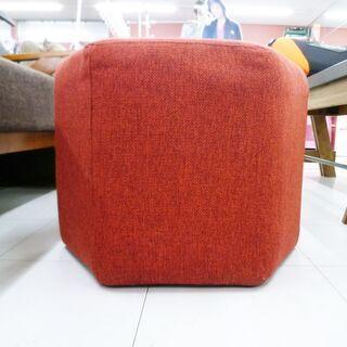 スツール 幅50×高38cm 布製 赤色 オットマン 椅子 イス 苫小牧西店 - 家具