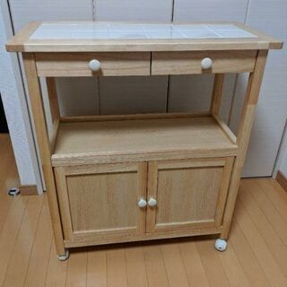 【ネット決済】キッチンサイドテーブル 収納ラック キャスターワゴン