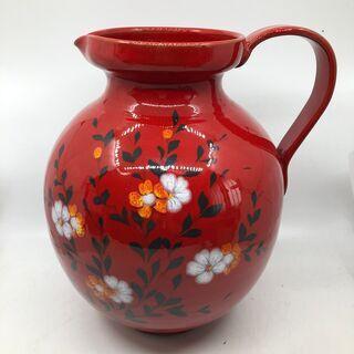 イタリア製 花瓶 赤 花図 高さ約35cm