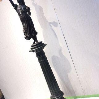 ■5325■小鳥と少女 像 銅像 石台 置物 洋風 玄関 庭園 ...