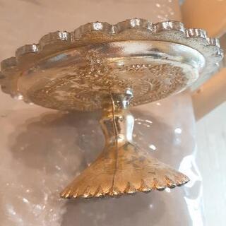 アンティークテイストのガラスのコンポート皿 インド製