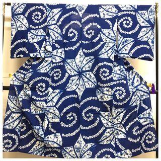 【ネット決済・配送可】 有松鳴海絞り 高級 藍染め 渦模様 絞り...