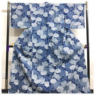 【ネット決済・配送可】 美品 大サイズ 本藍染め 綿 単衣仕立て...