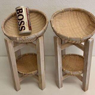 【値下げしました】和風 和雑貨 和家具 2段かご 2台セット価格
