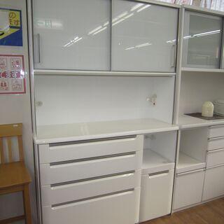 R067 国産 シギヤマ家具 キッチンボード、食器棚、幅130c...