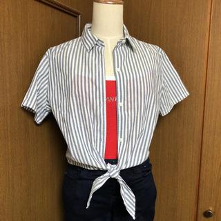 半袖 裾蝶結び カッターシャツ ブラウス シャツ ストライプ 夏用