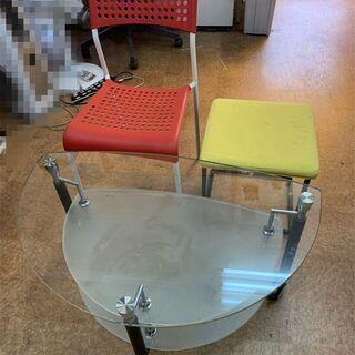 きれいガラステーブルキャスターつき 椅子 3点セット★t76