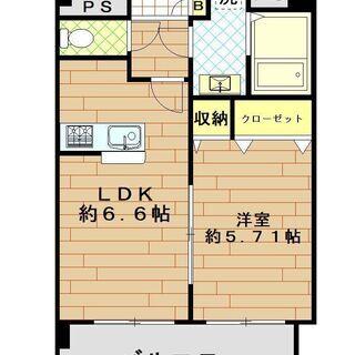 高宮駅まで徒歩5分!使いやすい間取りの1LDK♪6階建ての最上階です♪