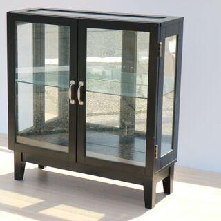 木製 シェルフ 収納棚 ガラス扉 ディスプレイケース 収納ケース...