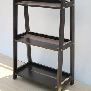 木製 シェルフ ディスプレイラック 飾棚 収納 3段 本棚 ブッ...