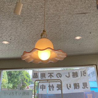 ミルクシェード フリル ペンダントライト ガラス 照明 昭和レトロ