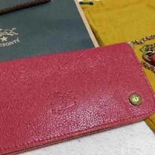 【ネット決済・配送可】イルビゾンテ 長財布 赤 保存袋 紙袋付き