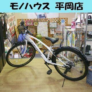 自転車 26インチ ホワイト 6段切替 シティサイクル クロスバ...