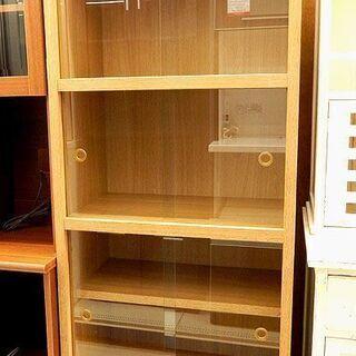 札幌市/清田区 レトロ風 ガラス戸棚 食器棚 キャビネット…
