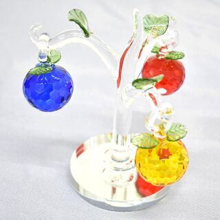 SD024◆)クリスタル 水晶 3アップルツリー リンゴの置物 ...