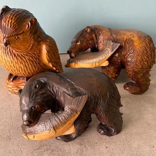 木彫 熊 フクロウ 高さ30cm 民芸品 3点