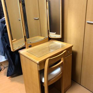 ドレッサー 鏡台 三面鏡 電源付き 椅子付き