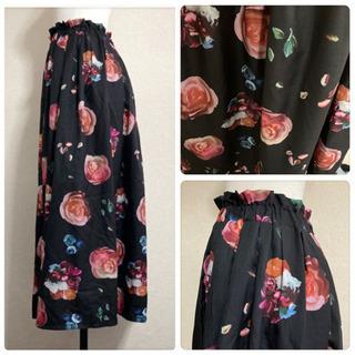꒰merlot꒱メルロー薔薇 花 フローラル柄ロングスカート黒ピンクLサイズOK - 服/ファッション