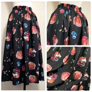 ꒰merlot꒱メルロー薔薇 花 フローラル柄ロングスカート黒ピンクLサイズOK - 売ります・あげます
