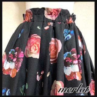 ꒰merlot꒱メルロー薔薇 花 フローラル柄ロングスカート黒ピンクLサイズOKの画像