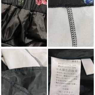 ꒰merlot꒱メルロー薔薇 花 フローラル柄ロングスカート黒ピンクLサイズOK − 千葉県