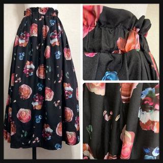 ꒰merlot꒱メルロー薔薇 花 フローラル柄ロングスカート黒ピンクLサイズOK - 香取市