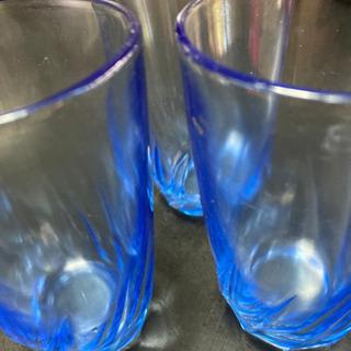 ガラスコップ3個ブルー