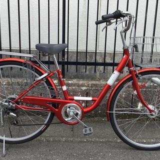 <美品>シティサイクル・27インチ自転車・外装6段変速・LEDラ...