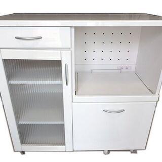 新札幌発 食器棚 エイアイエス キャスター付き 高さ90×幅90×奥行42cmの画像