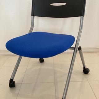 【ネット決済】事務用折りたたみ椅子、オフィスチェア 青