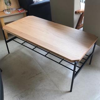 センターテーブル ローテーブル パイプ 黒 ウッド調 木目…