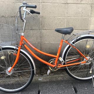 【ネット決済・配送可】【整備済自転車】26インチ6段変速 オート...