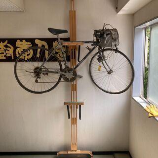 自転車ラック 2段用 突っ張り式 木製