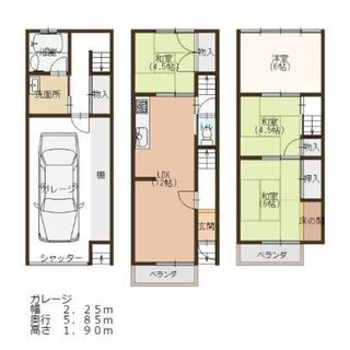 🟪売物件◆3階建て戸建て🟪 ◆平野区瓜破東◆1階ガレージ◆4LD...