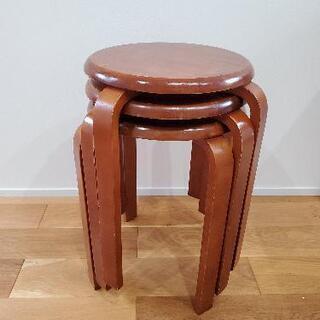 【定価2,500円×3脚】木製丸椅子、チェア