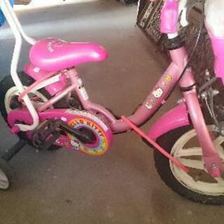 幼児用 キティ 自転車 女の子 取っ手 補助輪 付き